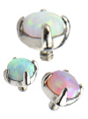Stainless Steel Prong Set Synthetic Opal Tops